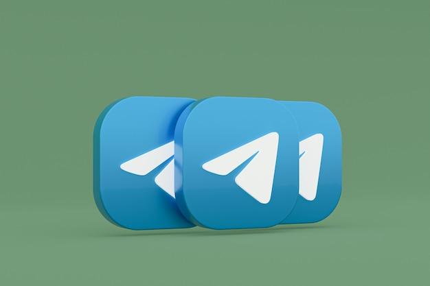 Renderização 3d do logotipo do aplicativo telegram sobre fundo verde