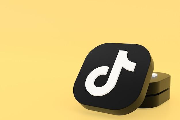 Renderização 3d do logotipo do aplicativo tiktok em fundo amarelo