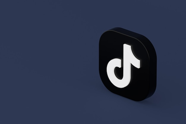 Renderização 3d do logotipo do aplicativo tiktok em fundo azul