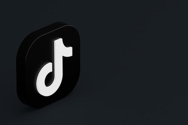 Renderização 3d do logotipo do aplicativo tiktok em fundo preto