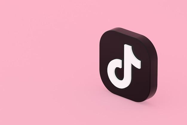 Renderização 3d do logotipo do aplicativo tiktok em fundo rosa