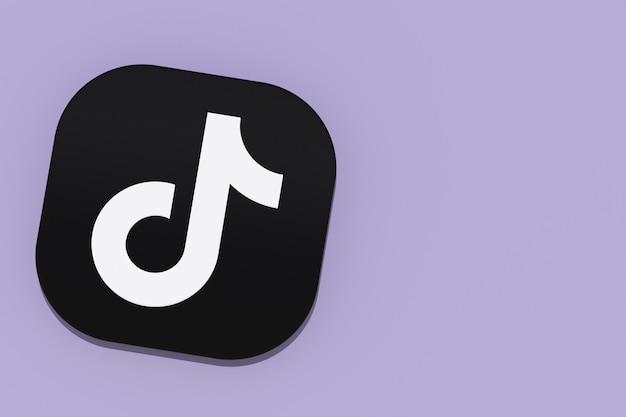 Renderização 3d do logotipo do aplicativo tiktok no fundo roxo