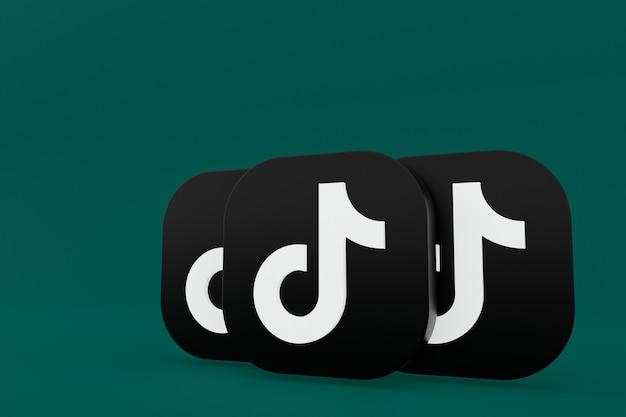 Renderização 3d do logotipo do aplicativo tiktok sobre fundo verde