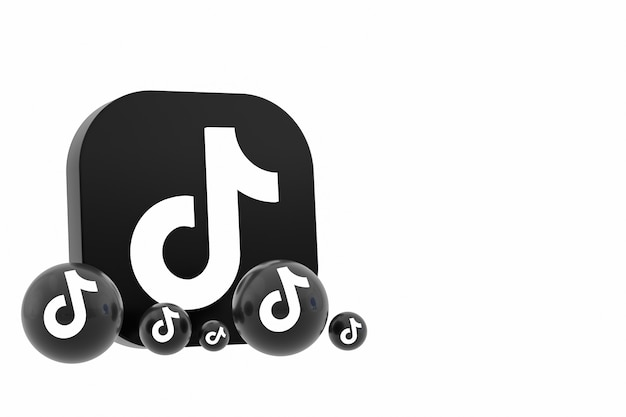 Renderização 3d do logotipo do aplicativo tiktok