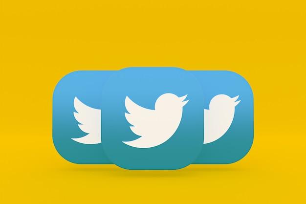 Renderização 3d do logotipo do aplicativo twitter em fundo amarelo