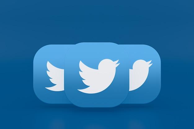 Renderização 3d do logotipo do aplicativo twitter em fundo azul