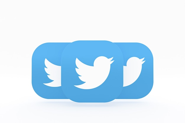 Renderização 3d do logotipo do aplicativo twitter em fundo branco