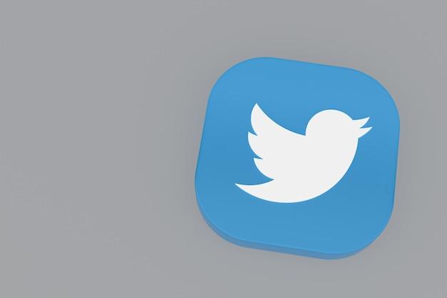 Renderização 3d do logotipo do aplicativo twitter em fundo cinza