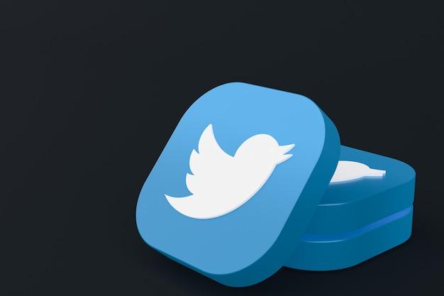 Renderização 3d do logotipo do aplicativo twitter em fundo preto