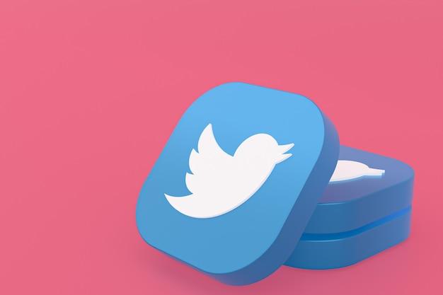Renderização 3d do logotipo do aplicativo twitter em fundo rosa