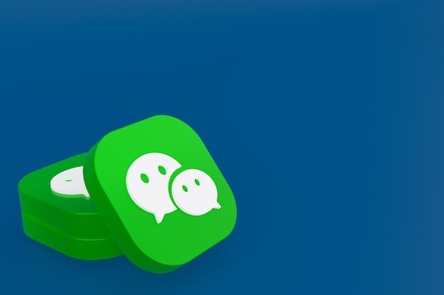 Renderização 3d do logotipo do aplicativo wechat em fundo azul