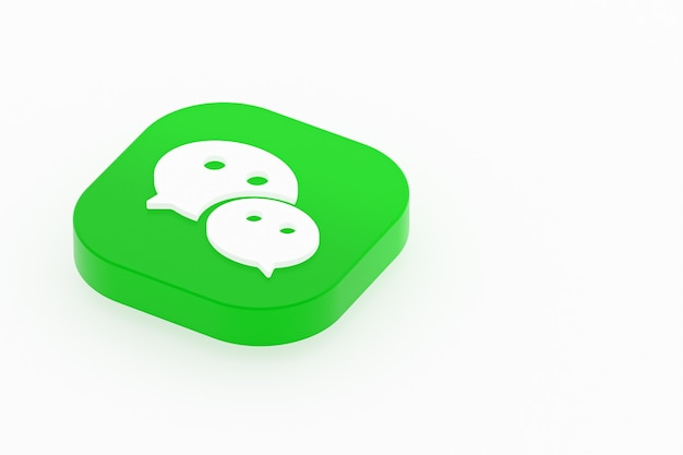 Renderização 3d do logotipo do aplicativo wechat em fundo branco