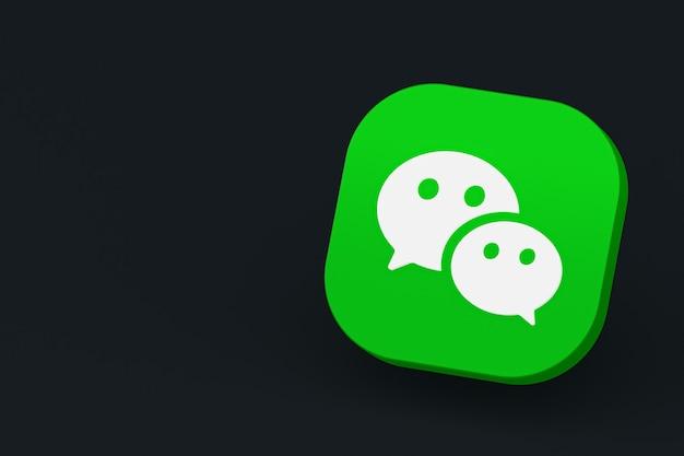 Renderização 3d do logotipo do aplicativo wechat em fundo preto