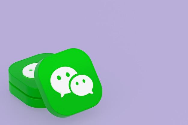 Renderização 3d do logotipo do aplicativo wechat no fundo roxo