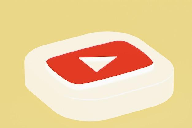 Renderização 3d do logotipo do aplicativo youtube em fundo amarelo
