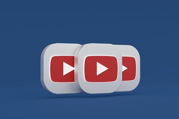 Renderização 3d do logotipo do aplicativo youtube em fundo azul
