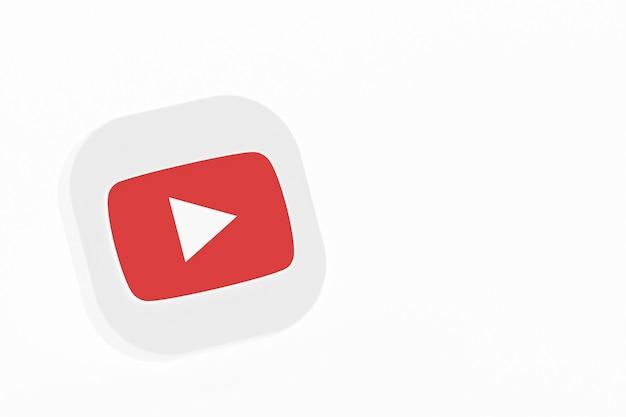 Renderização 3d do logotipo do aplicativo youtube em fundo branco