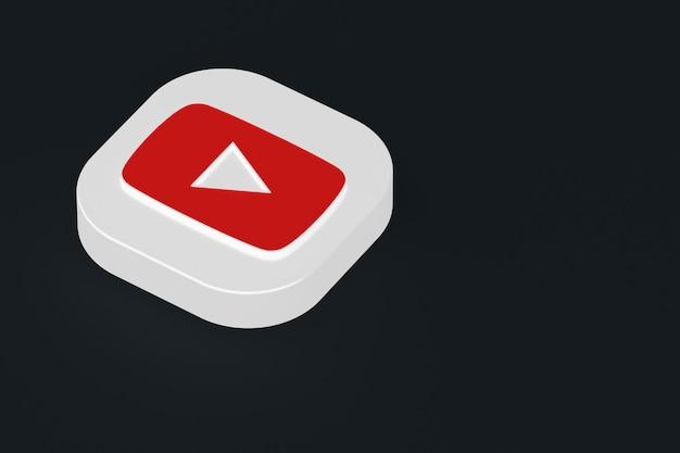 Renderização 3d do logotipo do aplicativo youtube em fundo preto