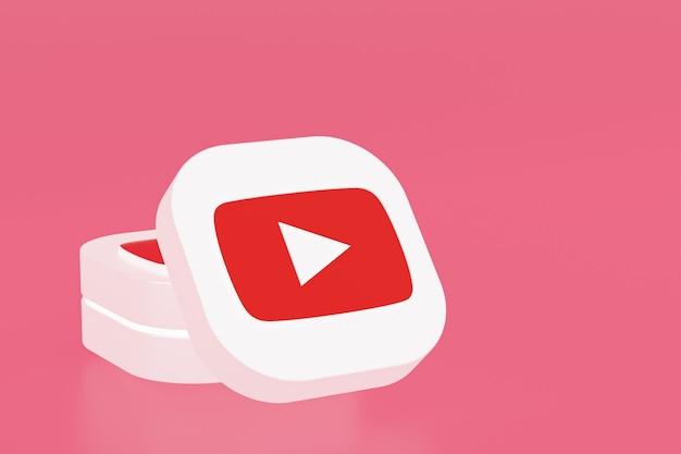 Renderização 3d do logotipo do aplicativo youtube em fundo rosa