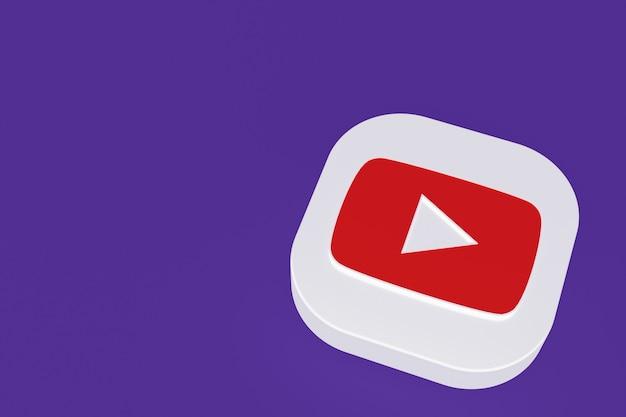Renderização 3d do logotipo do aplicativo youtube em fundo roxo