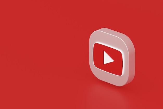 Renderização 3d do logotipo do aplicativo youtube em fundo vermelho