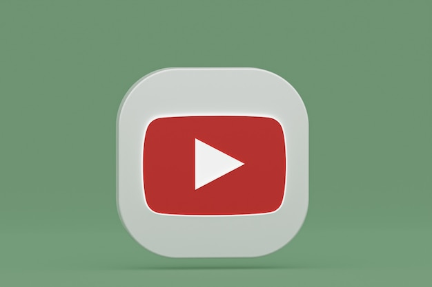 Renderização 3d do logotipo do aplicativo youtube sobre fundo verde