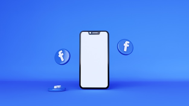 Renderização 3d do logotipo do facebook. notificações de mídia social no telefone