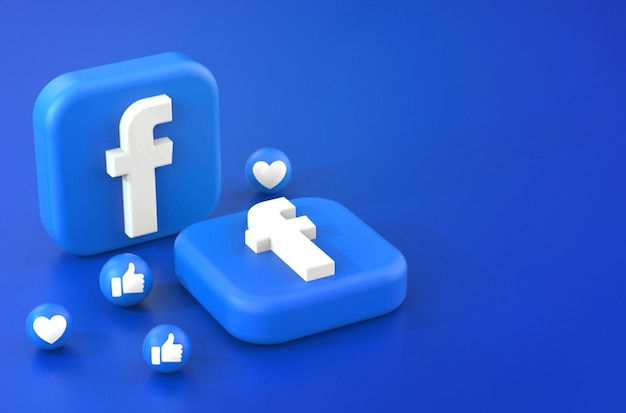 Renderização 3d do logotipo do facebook