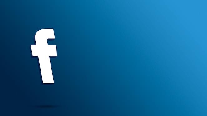 Renderização 3d do logotipo do facebook