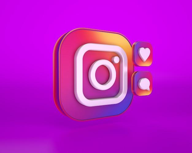 Renderização 3d do logotipo do instagram
