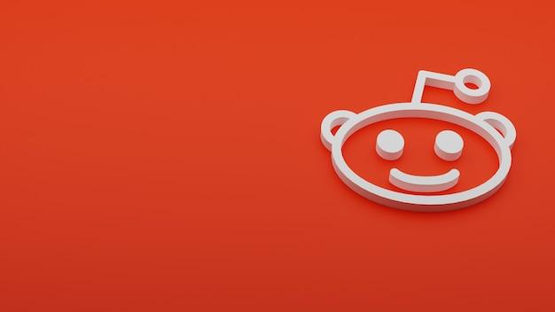 Renderização 3d do logotipo do reddit com copyspace
