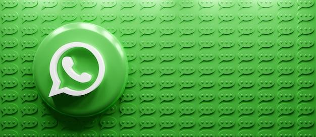 Renderização 3d do logotipo do whatsapp com ícone de mensagem