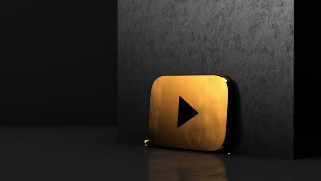 Renderização 3d do logotipo dourado do youtube
