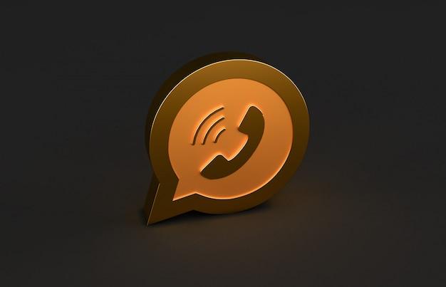 Renderização 3d do logotipo dourado whatsapp isolada no fundo preto