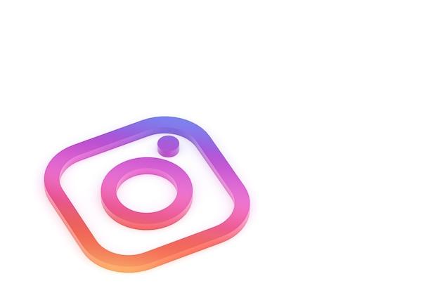 Renderização 3d do logotipo mínimo do instagram close-up para o modelo de plano de fundo do projeto