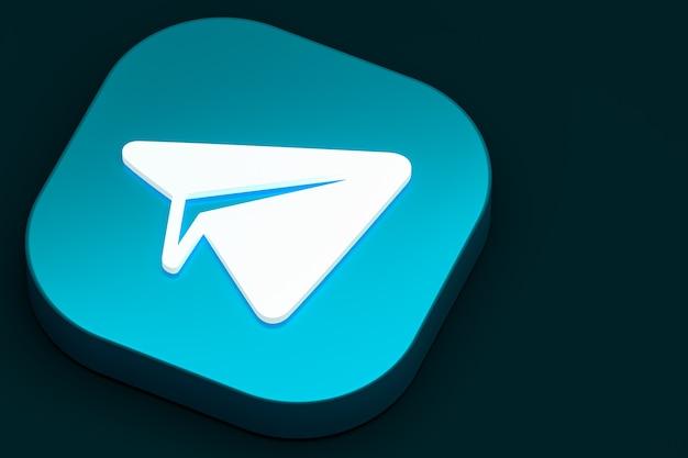 Renderização 3d do logotipo mínimo do telegram close-up para o modelo de plano de fundo do projeto