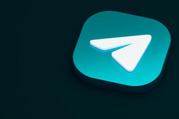 Renderização 3d do logotipo mínimo do telegram
