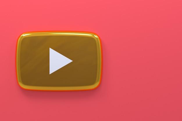 Renderização 3d do logotipo ouro do youtube