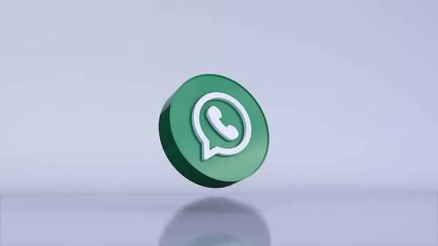 Renderização 3d do logotipo whatsapp. modelo de promoção de conta.