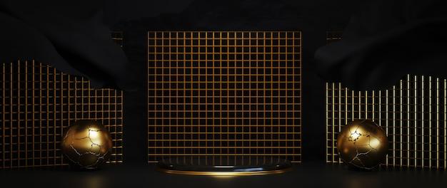 Renderização 3d do luxuoso pódio dourado em fundo preto