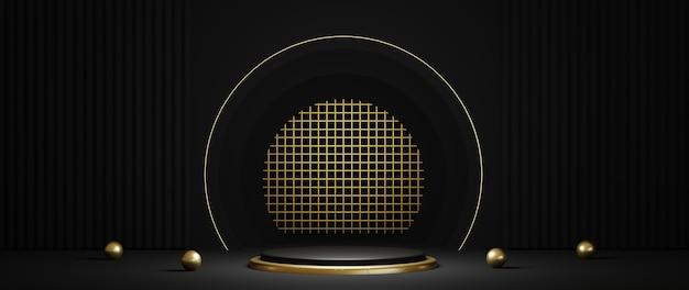Renderização 3d do luxuoso pódio preto e dourado com anel de ouro isolado no fundo preto