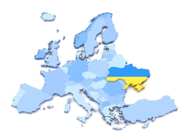 Renderização 3d do mapa da europa, ucrânia com bandeira