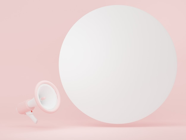 Renderização 3d do megafone com balão e espaço de cópia para mock up e banner da web