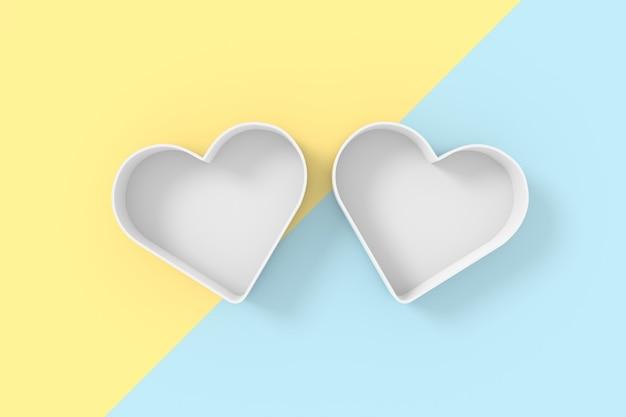 Renderização 3d do modelo de caixa de coração.