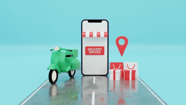 Renderização 3d do motorcycle online delivery