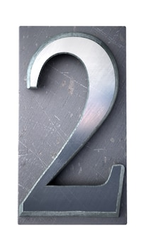 Renderização 3d do número 2 em letras maiúsculas datilografadas