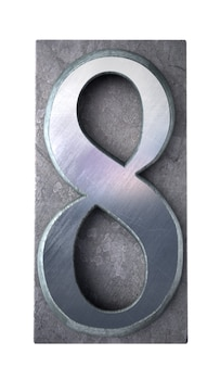Renderização 3d do número 8 em letras maiúsculas datilografadas