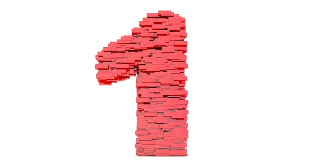 Renderização 3d do número um de tijolos de construção, conceito de tijolos vermelhos que se acumulam para formar o número 1