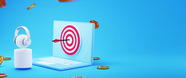Renderização 3d do objetivo de ganhar dinheiro online
