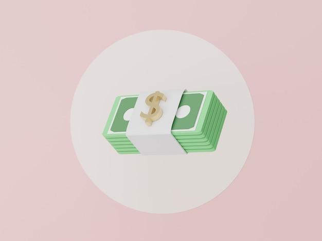 Renderização 3d do pacote de dinheiro para economizar dinheiro para o modelo financeiro de crescimento do conceito de objetivo